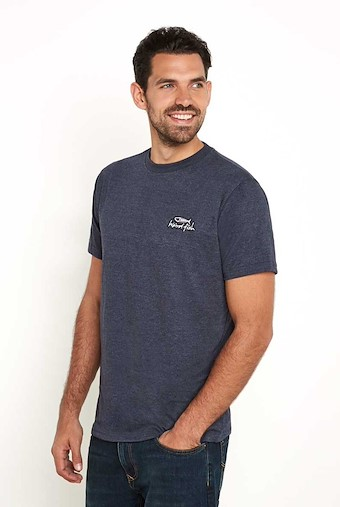 Bones Embroidered Logo Classic Plain T-Shirt Navy Marl