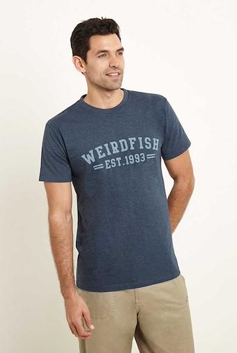 Bang Graphic Print T-Shirt Moonlight Blue Marl