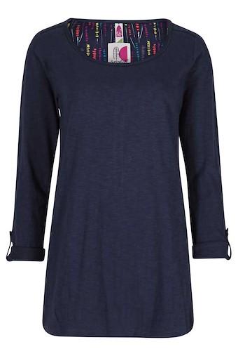 Jamila Printed Back Long Length T-Shirt Navy