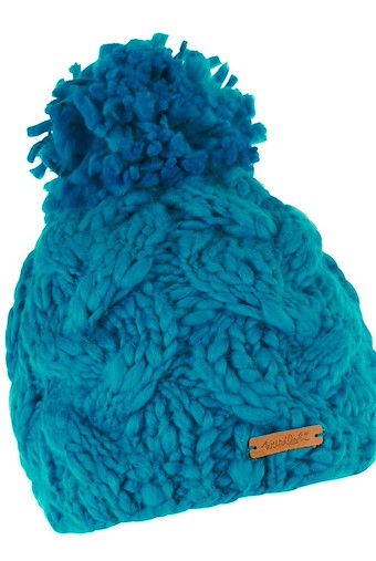 Aysha Cable Knit Bobble Hat Blue Jay