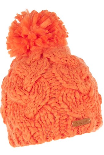 Aysha Cable Knit Bobble Hat Clementine