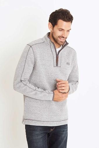 Talas Plain 1/4 Zip Soft Knit Fleece Sweatshirt Frost Grey