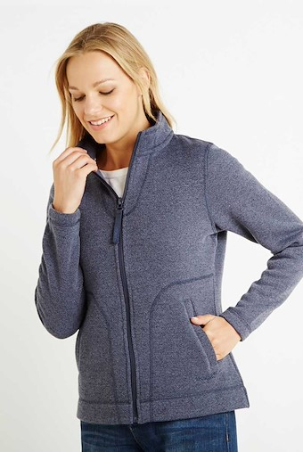 Galata Soft Knit Full Zip Fleece Top Dark Navy