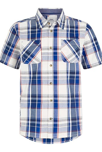 Rewind Cotton Short Sleeve Check Shirt Cobalt Blue