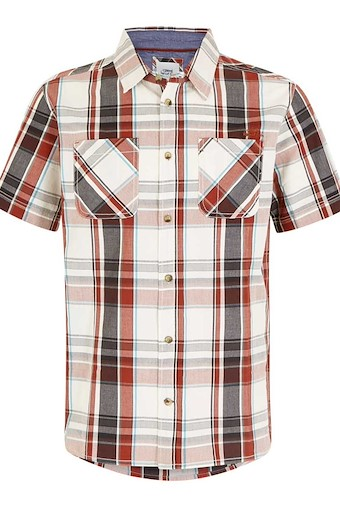 Rewind Cotton Short Sleeve Check Shirt Burnt Henna
