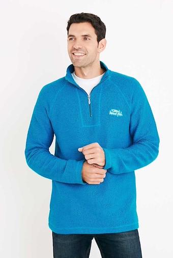 Helm 1/4 Zip Siera Knit Sweatshirt Blue Jay