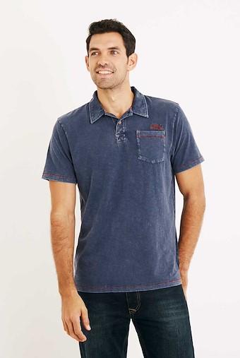 Morrison Garment Dyed Polo Shirt Estate Blue