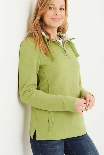 Bina 1/4 Zip Print Lined Sweatshirt Lime
