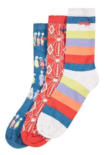 Parade Patterned Sock 3 Pack Dark Denim