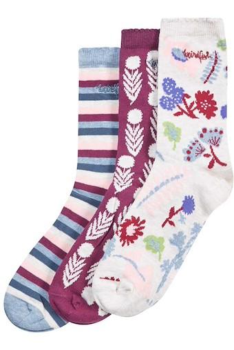 Parade Patterned Sock 3 Pack Light Cream
