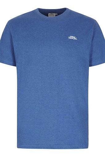 Bones Embroidered Logo Classic Plain T-Shirt Deep Ocean Marl