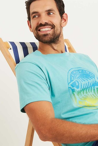 Gradient Bones Graphic Print T-Shirt Menthol Marl