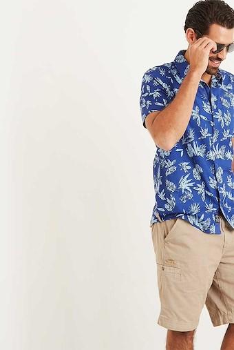 Mullins Hawaiian Short Sleeve Shirt Deep Ocean