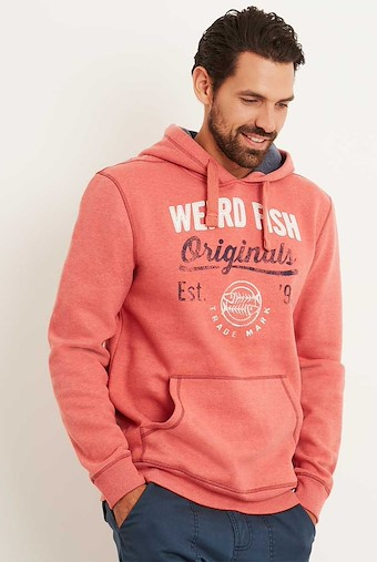 Leiter Applique and Graphic Print Hoodie Baked Apple