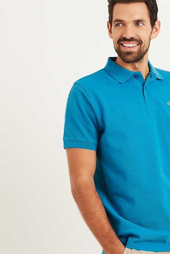Saltash Rib Collar Pique Polo Shirt Blue Jay