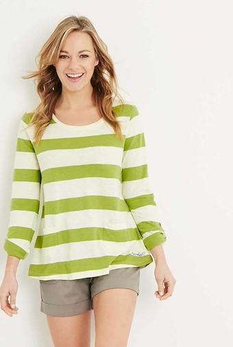 Ajay Cotton Slub Stripe Long Sleeve T-Shirt Lime