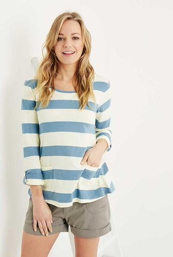 Ajay Cotton Slub Stripe Long Sleeve T-Shirt Citadel
