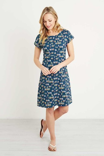 Tallahassee Printed Cotton Jersey Dress Navy