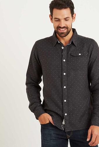 Jerome Long Sleeve Dobby Shirt Pewter