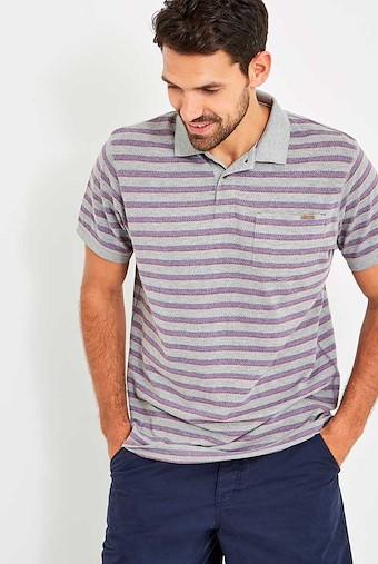 Belsay Stripe Polo Grey