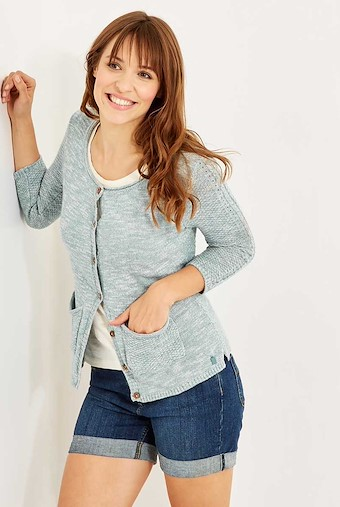 Elisa 3/4 Sleeve Marled Cable Outfitter Cardigan Citadel