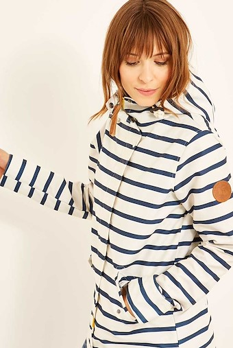 Charlize Striped Shower Resistant Jacket Light Cream