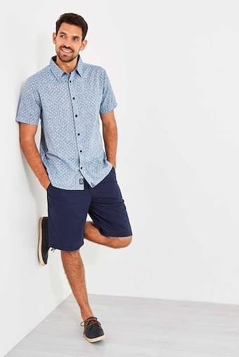 Borgue Linen Mix Printed Short Sleeve Shirt Denim Blue
