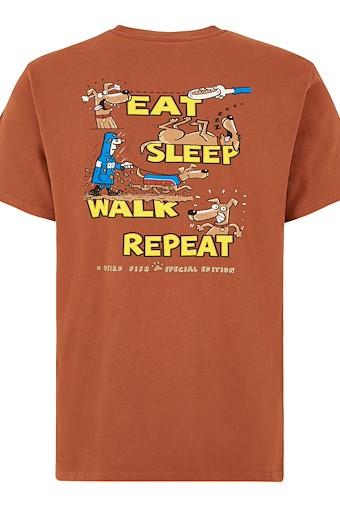Eat Sleep Walk Artist T-Shirt Brick Orange