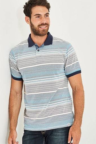 Persley Pique Stripe Polo Aztec Blue