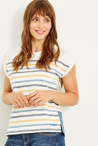 Barberry Stripe Slub Jersey T-Shirt Scandi Blue
