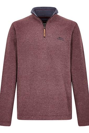 Newark 1/4 Zip Grid Fleece Sweatshirt Oxblood