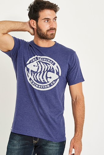WF Surf Branded Graphic T-Shirt Night Blue Marl