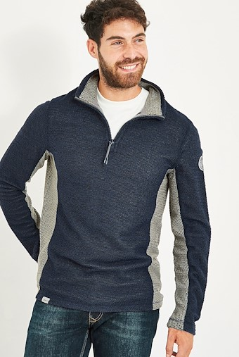 Stanford 1/4 Zip Active Macaroni Sweatshirt Black Iris