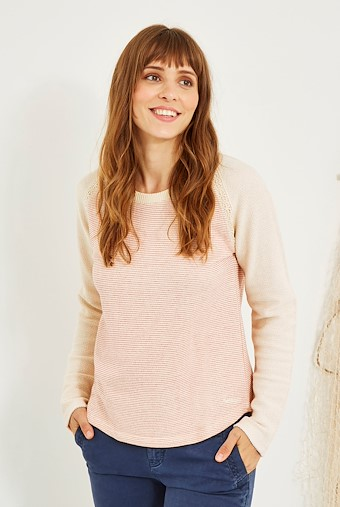 Boscombe Stripe Crew Neck Top Rhubarb