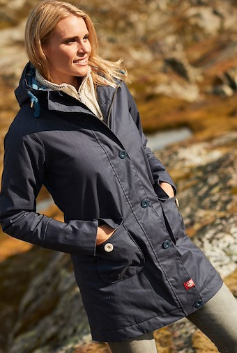 Beatrix Waxed Finish Waterproof Wadded Coat Dark Navy