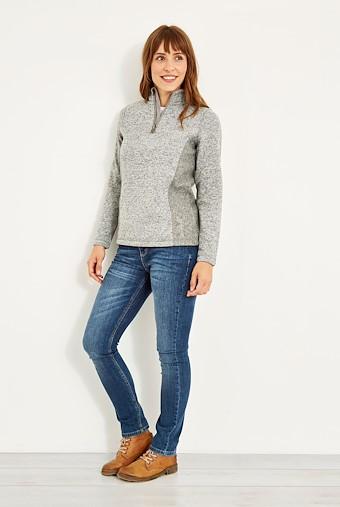 Sia 1/4 Zip Melange Soft Knit Frost Grey