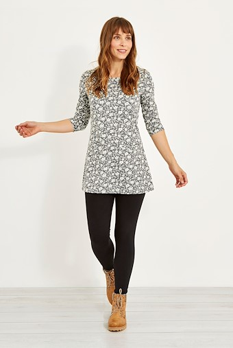 Amber Floral Jacquard Print Tunic Frost Grey Marl