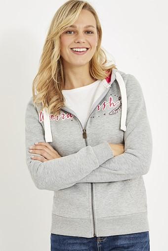 Corinne Branded Zip Through Hoody Frost Grey Marl