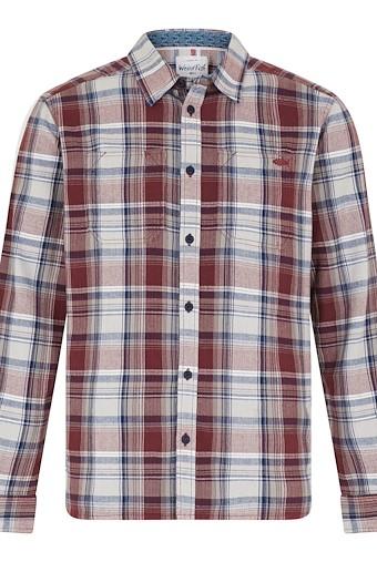 Matanic Long Sleeve Herringbone Check Shirt Oxblood