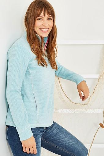 Chrystal 1/4 Zip Stripe Fleece Icy Blue