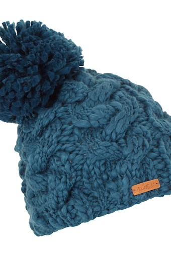 Aysha Cable Knit Bobble Hat Deep Sea Blue