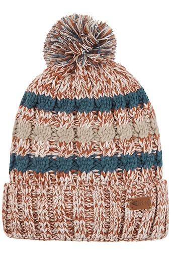 Vito Twisted Yarn Bobble Hat Brick Orange