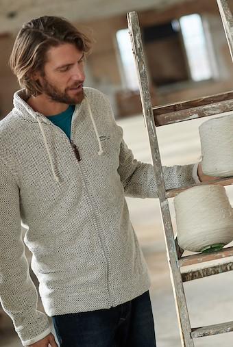 Alder Full Zip Classic Macaroni Sweatshirt Ecru