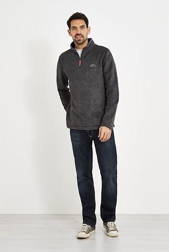 Newark 1/4 Zip Grid Fleece Sweatshirt Charcoal