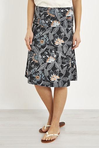 Malmo Printed Jersey Skirt Washed Black