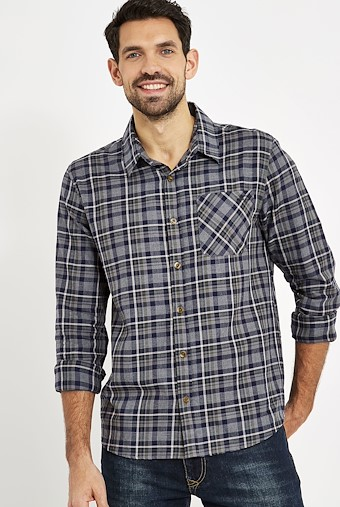 Griffin Long Sleeve Check Shirt Black Iris
