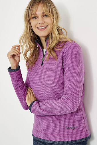 Beyonce 1/4 Zip Grid Fleece Purple Orchid