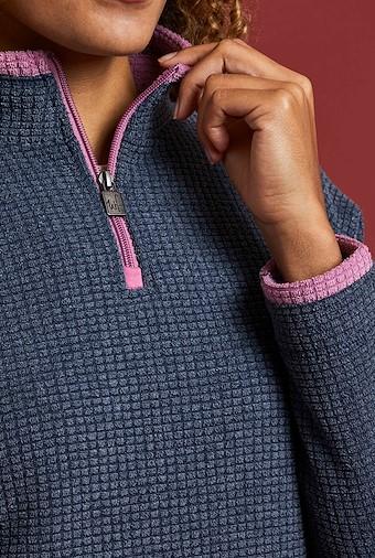 Beyonce 1/4 Zip Grid Fleece Dark Navy