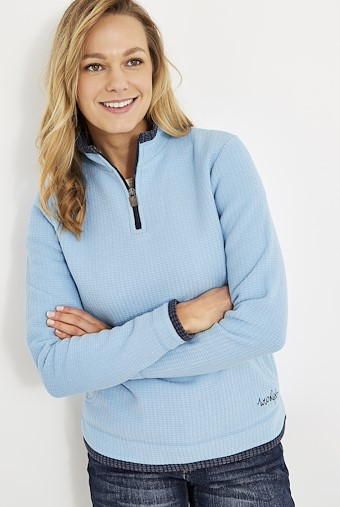 Beyonce 1/4 Zip Grid Fleece Cool Blue