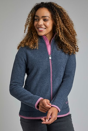 Ariana Full Zip Grid Fleece Navy